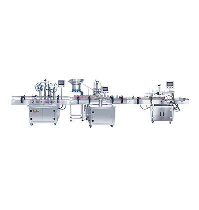 LINEAR AUTOMATIC BOTTLE FILLING & CAPPING & LABELING MACHINERY